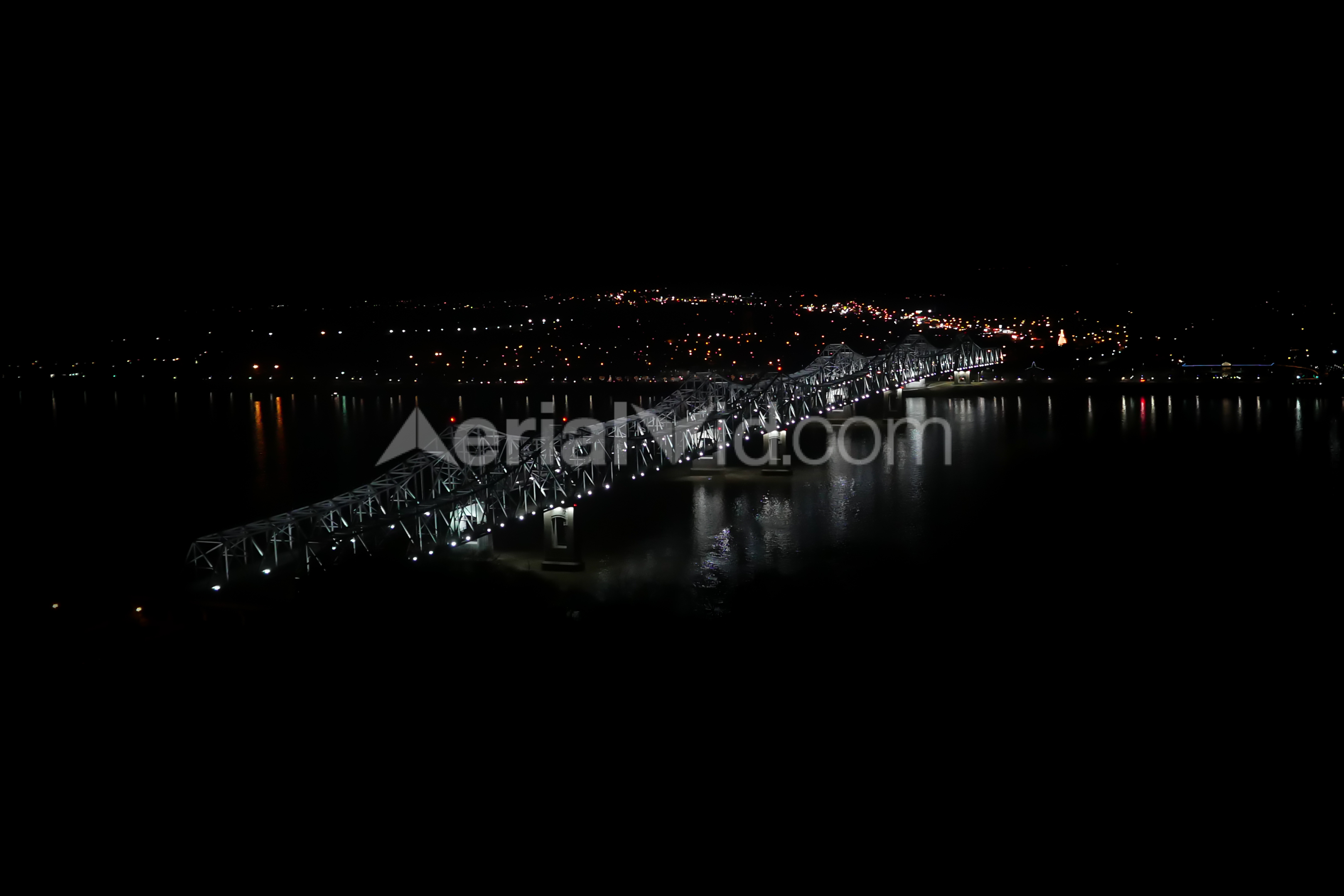 Natchez Mississippi Bridge Night Aerial Photography